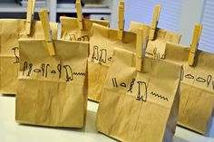 label the paper bag (in heiroglyphs) with what is inside (not what the original poster had in mind, but this is the picture that gave me the idea!)