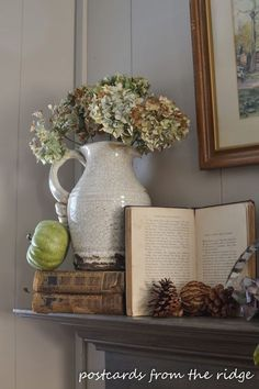 Postcards from the Ridge: How to Decorate a Fall Mantel With Vintage and Found Items