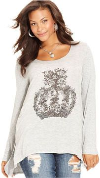 American Rag Plus Size Top, Long-Sleeve Crown-Print Tunic on shopstyle.com