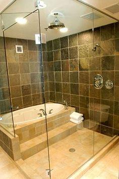 Love the shower soaking tub combination here!  #bathrooms  #bathroomdesigns  homechanneltv.com