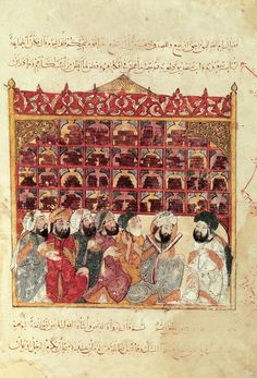 Scholars in a library in a mosque, Arabic miniature from a work by Al-Hariri, manuscript, 12th Century.