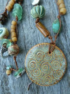 Fall Swirls Ceramic Pendant in Golden Green with Natural Turquoise, Ceramic, Czech Glass,Recycled Glass, Indo Pacific Glass, Silver