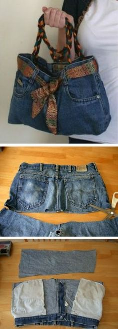 You will love this Denim Jeans Bag Pattern and it's a very easy diy. We'… You will love this Denim Jeans Bag Pattern and it's a very easy diy. We've included a video tutorial plus lots of inspiration to try. Jean Crafts, Denim Crafts, Sewing Jeans, Sewing Clothes, Sewing Diy, Sewing Crafts, Diy Clothes Bag, Sewing Aprons, Diy Fashion