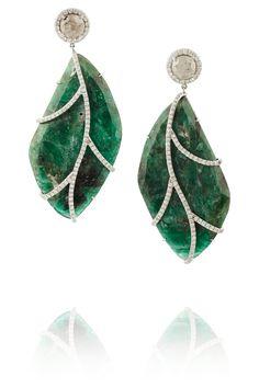 Nina Runsdorf|18-karat white gold, emerald and diamond earrings|NET-A-PORTER.COM