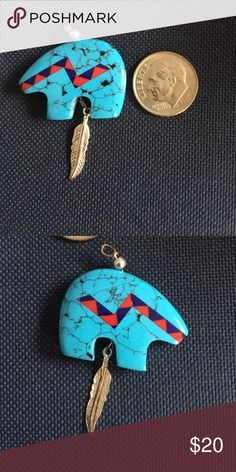 Zuni style turquoise bear This is a beautiful Zuni turquoise bear that has lapis and coral inlay.  Native American Willing to trade American Vintage Jewelry Necklaces