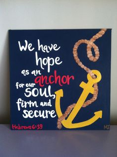 Hebrews 6:19, Bible Verse Art, 12x12 Hand Painted Canvas Panel. $30.00, via Etsy.