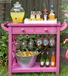 Pretty in pink - Fun serving cart for back yard...