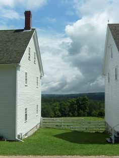The view between two buildings--Sabbathday Lake Shaker Village, Maine