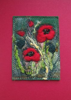 Needle felted poppy picture.