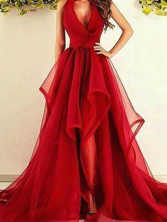 A-Line/Princess V-Neck Sleeveless Asymmetrical Ruffles Organza Dresses