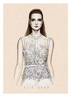"""""""Elie Saab SS2014"""" another fashion illustration."""
