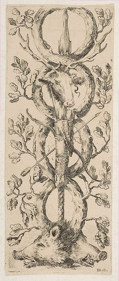Heads of a Stag and Two Boars in Rinceaux of Oak Branches                                          Etched by Stefano della Bella (Italian, F...