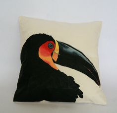 Toucan Pillow decorative pillow cover Animal by FennekArtDesign