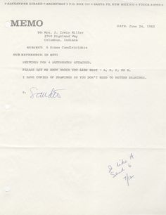 Letter from Girard to Mrs. Irwin Miller, 1963, 1/3.  Girard sent Xenia Miller four sketches of brass candle holders. Mrs. Miller ordered six of Alternate A.