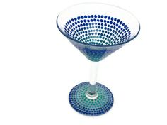 Ombre Blue Martini Hand Painted Martini Glass  by BeyondTheBarrel, $17.00