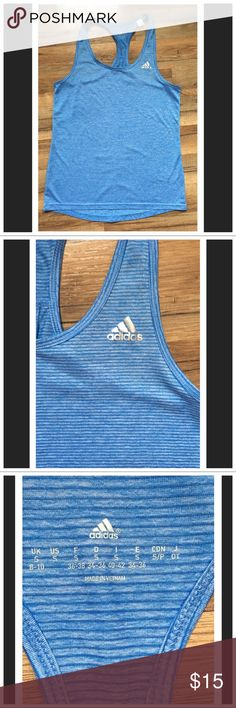 Adidias Racerback Tank Top Adidias Racerback Tank Top Size- Small Excellent Worn Condition No stains No holes...nice blue with mini stripes Adidas Tops Tank Tops