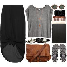 super comfy and easy outfit that is also really cute. jersey high/low-ish maxi-ish skirt. t-shirt. leather bag, strappy sandals, and art stuffs:D