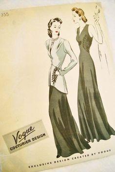 Vogue 1940s Couturier Evening Dress Gown Jacket Pattern 355 uncut rare