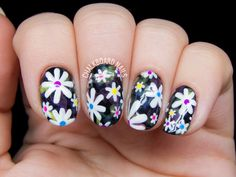 Electric Daisy Floral Print Nail Art