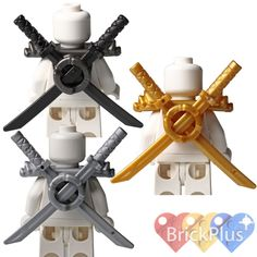 Pearl Gold Minifig, Armor Shoulder Pads with Scabbards and Two Gold Katanas. 98132 - Pearl Gold Minifig, Armor Shoulder Pads with Scabbards for Two Katanas. Pearl Dark Gray Minifig, Armor Shoulder Pads with Scabbards and Two Gold Katanas. Lego System, Cool Lego Creations, Lego Ninjago, Shoulder Pads, Legos, Grey, Handmade Gifts, Hobbies, Silver