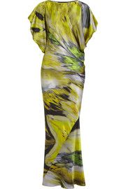 Maria GrachvogelHawk printed silk-satin gown