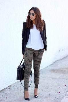 Discover this look wearing Black Zara Blazers, Black Ray Ban Sunglasses, Silver Zara Ts, Shirts tagged chilled - Everyday camouflage by BrunetteBraid styled for Chic, Everyday in the Spring Army Pants Outfit, Camo Pants, Camo Leggings, Camo Dress, Camo Outfits, Mode Outfits, Casual Outfits, Camo Fashion, Star Fashion