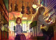 This is a cute anime wallpaper. It shows a school girl who has a crush on the violin maker. Manga Art, Anime Art, Cute Anime Wallpaper, Cute Anime Pics, Manga Illustration, Illustrations, Amazing Pics, Amazing Art, Beautiful Anime Girl
