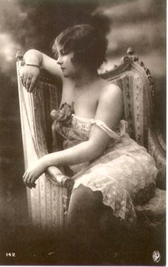 Pensive 1920s Beauty in Slip