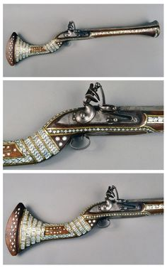 A bone inlaid flintlock blunderbuss originating from the Middle East, early 19th century.
