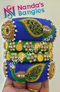 Silk Thread Bangles Design, Silk Bangles, Bridal Bangles, Thread Jewellery, Royal Jewelry, Diy Jewelry, Fashion Jewelry, Mirror Work Blouse Design, Street Style Store