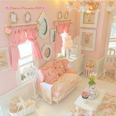 Aloha November, make it a month of kindness and thoughtfulness, Share Aloha Shabby Chic Pink, Shabby Vintage, Shabby Chic Homes, Shabby Chic Decor, Vitrine Miniature, Miniature Rooms, Barbie Furniture, Dollhouse Furniture, Pink Dollhouse