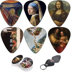 Guitar Picks, Cool Renaissance Art Gift Set. Have u Ever Played Your Guitar With The Mona Lisa?