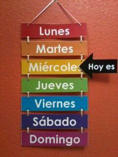 Los días de la semana--but the days should not be capitalized, and I'd like the arrow on the left side so it can be read left to right as a complete sentence. And the days would need to be the correct colors. Spanish Classroom Decor, Bilingual Classroom, Future Classroom, Spanish Teacher, Teaching Spanish, Teaching Resources, Spanish Lessons, How To Speak Spanish, Kids Education