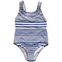 Mayoral Girls Blue Stripe Swimming Costume with Frills at Childrensalon.com
