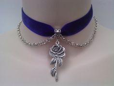 ROSE Charm & CHAIN Velvet PURPLE Ribbon Choker   by TwirlyTrinkets, £3.99