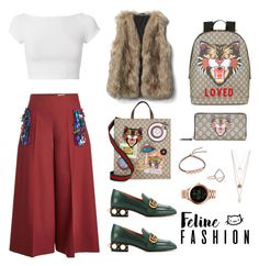 """Gucci branded cats 🥂"" by dasl ❤ liked on Polyvore featuring Delpozo, Helmut Lang, Gucci, Monica Vinader and FOSSIL"