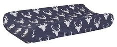 Changing pad covers not only protect your changing pad from messes, they can also brighten up your diaper changing area! Change your baby's diaper in style with our navy deer changing pad cover. Our c