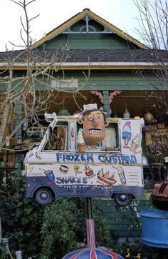 Frozen Custard ~ Patrick Amiot Junk Art Sculpture Art, Sculptures, Frozen Custard, Junk Art, Sonoma County, Madness, Mosaic, Mixed Media, Folk