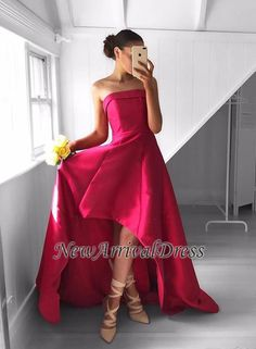 Newest Hi-Lo Sweep-Train Strapless Sleeveless Red Prom Dress
