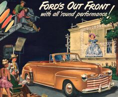 1947 Ford Convertible car print ad Gold model on a by Vividiom, $9.00