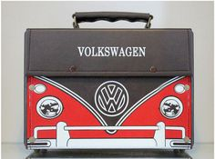 Pu Leather Trim Antique Vintage Bag Volkswagen Bus by diyproduct, $89.00 Oh my gosh! Love!