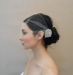 BANDEAU style!!! two combs French/Russian bandeau style birdcage veil with by glamorbydesign, $65.00