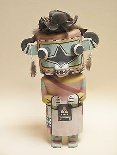 Hopi Traditional Blue Star Kachina, Mineral Paint, 9.5 Inches - NR !