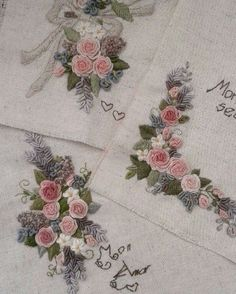 Wonderful Ribbon Embroidery Flowers by Hand Ideas. Enchanting Ribbon Embroidery Flowers by Hand Ideas. Embroidery Tools, Hand Embroidery Stitches, Silk Ribbon Embroidery, Hand Embroidery Designs, Embroidery Applique, Cross Stitch Embroidery, Embroidery Patterns, Embroidery Needles, Couture Cuir