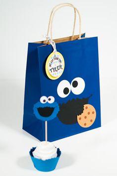 Cookie Monster inspired treat bags/ favor by FestivaPartyDesign, $30.00