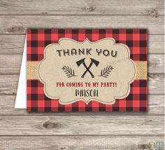 Lumberjack Buffalo Plaid Boy Birthday Thank You Cards
