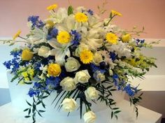 white and blue cascet flowers
