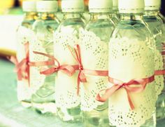 doily water bottle wraps how pretty! what a cute idea for a baby shower or something. Girls Tea Party, Tea Party Theme, Tea Party Baby Shower, Bridal Shower, Girl Birthday, Birthday Parties, Tumblers, Pink Parties, Deco Table