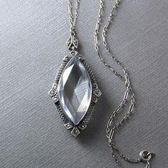 ART DECO Sterling Rock CRYSTAL Necklace Paperclip Chain Fancy Bale Prong-set Marcasite Pendant, Antique