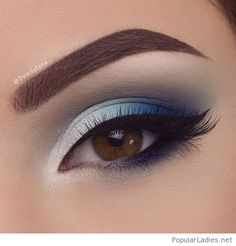 Make Up; Make Up Looks; Make Up Augen; Make Up Prom;Make Up Face; Makeup Steps Make - up Heavy Makeup, Blue Eye Makeup, Eye Makeup Tips, Smokey Eye Makeup, Eyeliner Makeup, Prom Makeup Blue Dress, Blue Eye Shadow, Makeup Products, Navy Blue Makeup